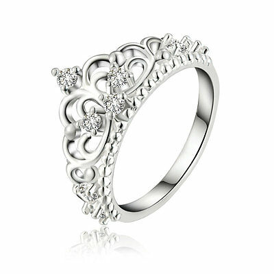 Women Fashion Lady Princess Queen Crown Ring Silver Plated Crystal Wedding Rings