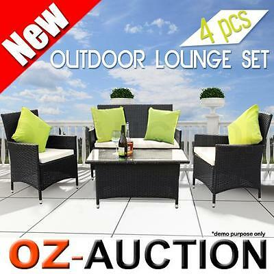 4 Pcs Garden Wicker Rattan Couch Chair Dining Table Furniture Lounge Set Outdoor