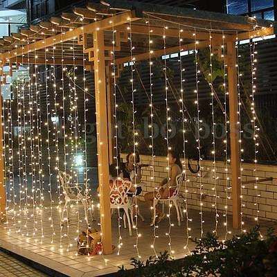Warm White 3M*3M/300 LED Christmas Fairy Curtain Waterfall Lights Wedding Party
