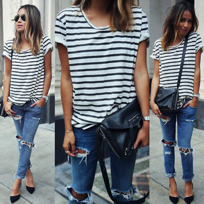 Women's Ladies Casual Loose Summer Striped Short Sleeve Blouse Tops T-Shirt Tee