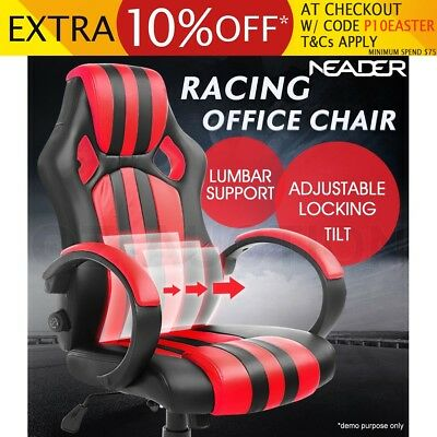 Racing Executive Office Computer Chair Lumbar Support Gaming Seat PU Leather