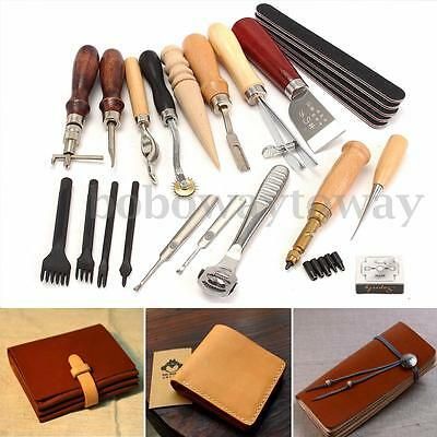 20 Pcs Leather Craft Stitching Carving Working Sewing Saddle Groover Punch Tools