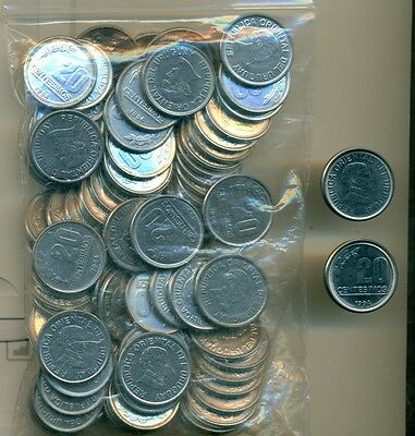 100 - 20 CENTESIMO COINS from URUGUAY (ALL DATING 1994/AU to UNC.)
