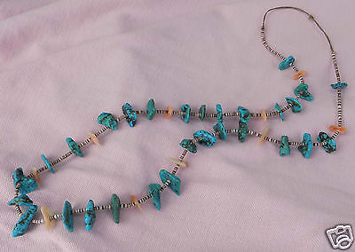 Vintage Native American Santo Domingo Shell Heishi Turquoise Big Nugget Necklace