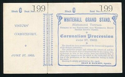 Ticket Whitehall Grand Stand Coronation Procession Of King Edward Vii 1902