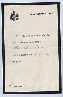 C Knollys Letter Envelope Buckingham Palace Death Of Edward Vii To Nellie Rowe