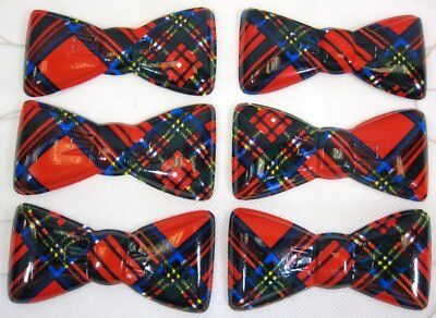 Megastore 247 Plastic Bow Ties Tartan Design - Pack of 100 - Red and Blue