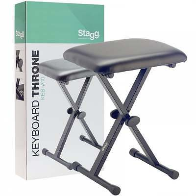 Stagg KEB-A10 X-Style Adjustable Keyboard Stool Bench Padded Seat Black Throne