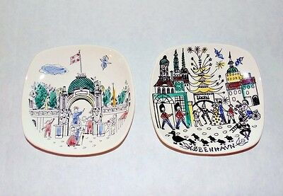 Mid Century Vintage Silk Screen Hand Painted Kobenhavn Tivoli Dish Set of 2 A6