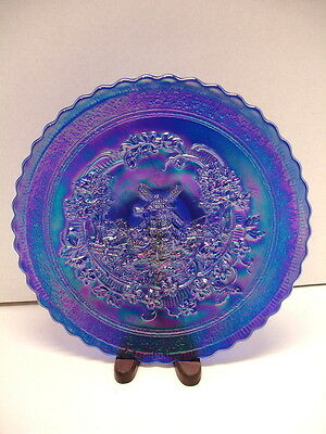 Imperial Glass Ultra Blue Iridescent Carnival Windmill Plate