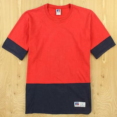 vtg 90's usa made RUSSELL colorblock tee t-shirt size LARGE red blue blank