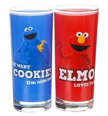 2 x Sesame Street COOKIE MONSTER and ELMO GLASSES Tall Glass Tumblers