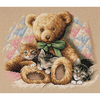 """Teddy & Kittens Counted Cross Stitch Kit-14""""X12"""""""