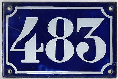 Old blue French house number 483 door gate plate plaque enamel metal sign c1900