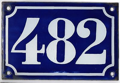 Old blue French house number 482 door gate plate plaque enamel metal sign c1900