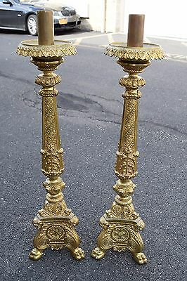"+ Fine Pair of Old French Baroque Candlesticks + 33"" ht. + chalice co. + (CU269)"