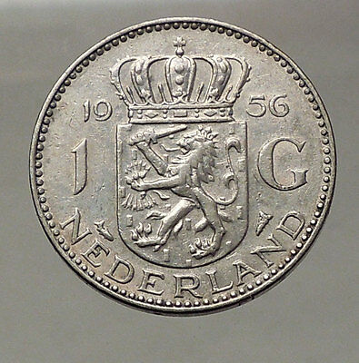 1956 Netherlands Kingdom Queen JULIANA 1 Gulden Authentic Silver Coin i57766