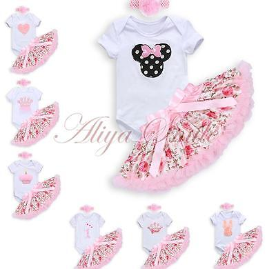 Infant Baby Girls 1st Birthday Party Romper Headband Tutu Skirt Outfits Clothes