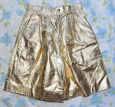 VTG Gold Leather Pleated Baggy Women's High Waisted Shorts sz 27 Disco Ugly