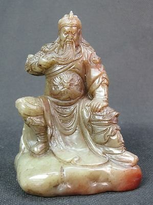 """Chinese """"Guan Yu"""" Carved Shoushan Stone Seal Stamp Signet Statue"""