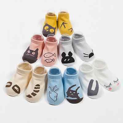 Unisex Baby Non-slip Bottom Kids Asymmetric Cute Printed Soft Short Cotton Socks