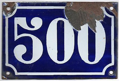 Old blue French house number 500 door gate plate plaque enamel metal sign c1900