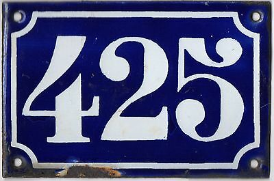 Old blue French house number 425 door gate plate plaque enamel metal sign c1900