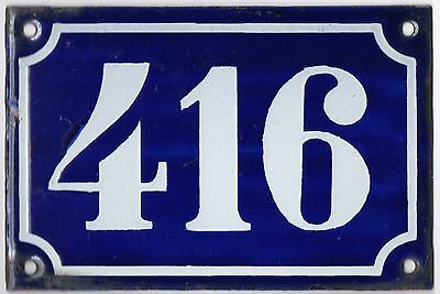Old blue French house number 416 door gate plate plaque enamel metal sign c1900