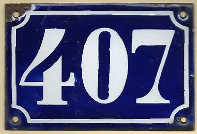 Old blue French house number 407 door gate plate plaque enamel metal sign c1900