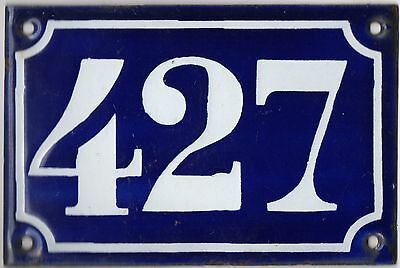 Old blue French house number 427 door gate plate plaque enamel metal sign c1900