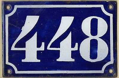Old blue French house number 448 door gate plate plaque enamel metal sign c1900
