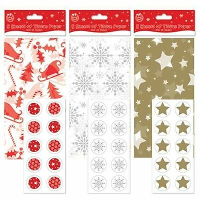 3x 5 Gold Silver Christmas Xmas Gift Wrap Wrapping Tissue Paper Stickers