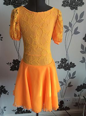 Juvenile Ballroom Dress Age 2-4 Mango Lace And Lycra Crystal Clover  B10  D22