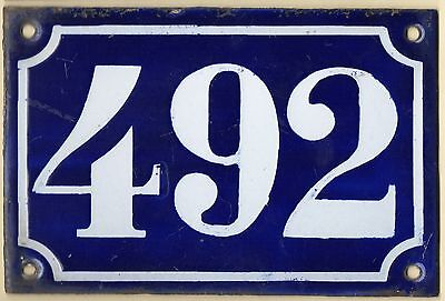 Old blue French house number 492 door gate plate plaque enamel metal sign c1900