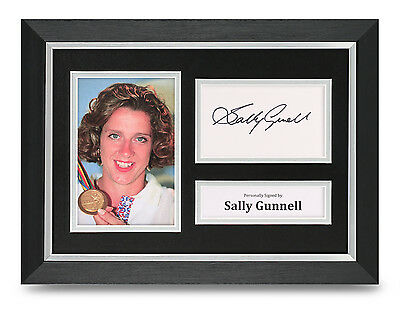 Sally Gunnell Signed A4 Photo Framed Track & Field Memorabilia Autograph Display