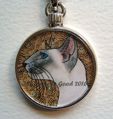 Siamese Cat Glittery Keyring Handbag Cat Carrier Charm By Suzanne Le Good