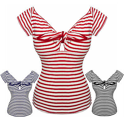Hell Bunny Dolly Sailor Striped Nautical Vintage Rockabilly 1950s Tshirt Top