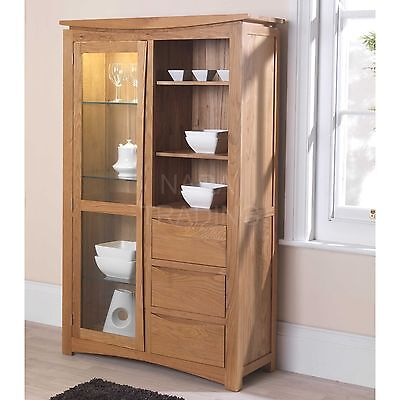 Crescent solid oak furniture glazed display cabinet cupboard with light