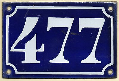 Old blue French house number 477 door gate plate plaque enamel metal sign c1900