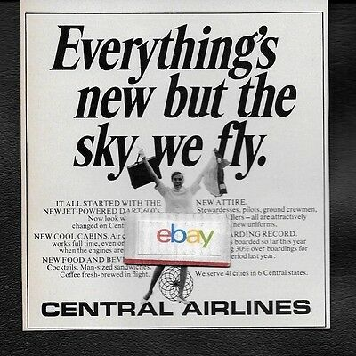 Central Airlines 1967 Everything's New But Sky We Fly New Look Ad