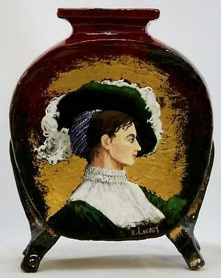 """French Faience 10"""" Pillow Vase W/portrait Of A Lady By Artist E. Landry C1880S"""