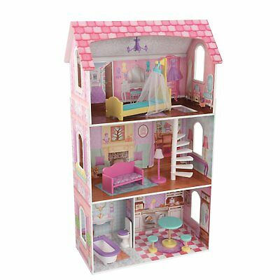 KidKraft Penelope Wooden Pretend Play House Doll Dollhouse Mansion w/ Furniture