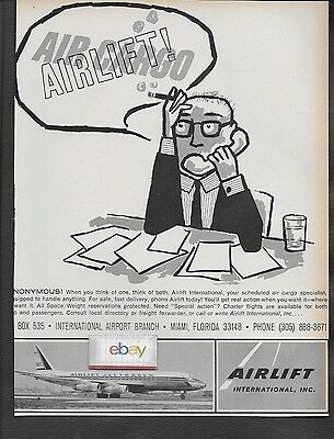 Airlift International Inc Miami Dc-8F Jet Trader Snonymous Air Cargo 1967 Ad