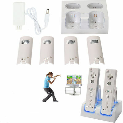 Double For Nintendo WII Remote Controller Dock Charger Station+4 Battery White