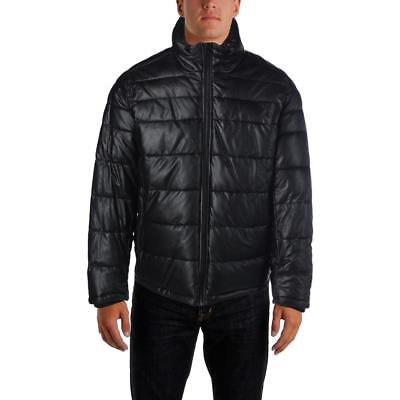 Tommy Hilfiger 3853 Mens Faux Leather Quilted Puffer Coat Outerwear BHFO