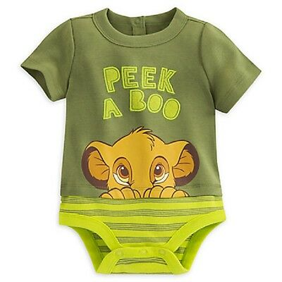 """Disney Store Lion King Simba """"peek A Boo"""" Cuddly Bodysuit For Baby Layered Look"""