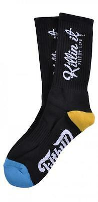 Filthy Dripped Killin' It Sock Black Or Teal Filthy D Contrast O/S Crew Socks