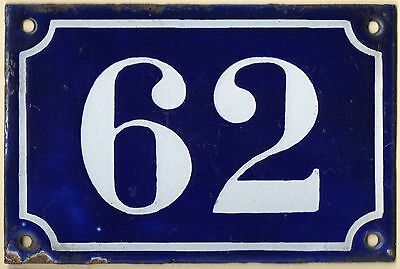Old blue French house number 62 door gate plate plaque enamel metal sign c1900