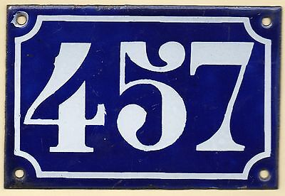 Old blue French house number 457 door gate plate plaque enamel metal sign c1900