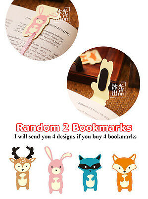 2pcs Animal Long Tail Paper Magnetic Bookmark Gift Bunny Deer Fox Leopard Cat